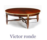 The Victor ronde is in the Louis xvi style but Louis xv lounge table models are also popular