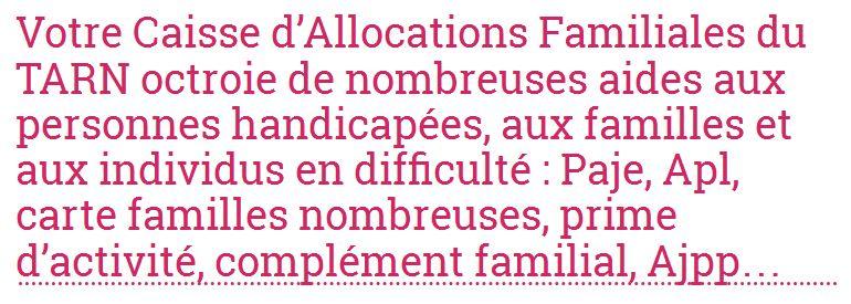 Pour connaître en détail les allocations de votre Caf à Tarn, rendez-vous sur allocations-info.fr